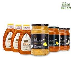 [꽃샘] 야생화꿀 3병+DMZ벌꿀 과일청(생강청/유자청/레몬청)1병