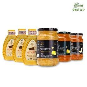 [꽃샘] 아카시아꿀 3병+DMZ벌꿀 과일청(생강청/유자청/레몬청)1병