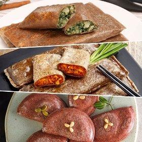 [안흥식품] 메밀김치 전병 1.2kg + 곤드레나물 전병 1.2kg + 수수부꾸미 400g