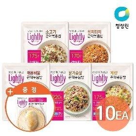 청정원 라이틀리 곤약볶음밥 10개(계란2/닭가슴살2/소고기2/매콤해물2/참치김치2)+(증정)닭가슴살플레인130g