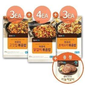 집으로ON 마무리볶음밥10개(고깃집3+닭갈비4+훈제오리3)+(증정)마늘떡갈비400g
