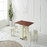 인리빙 올인원 폴딩 테이블 세트 (테이블+스툴의자 4개)