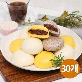 [안흥식품] 할매쌀찐빵10개+단호박쌀찐빵10개+흑미쌀찐빵10개(총30개)