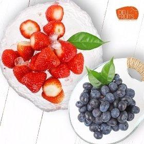 [델리후르츠] 아이스 냉동 블루베리 1kg x 2팩 +국내산 아이스 냉동 딸기 1kg x 2팩