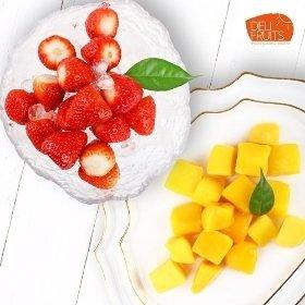[델리후르츠] 아이스 애플망고 다이스 1kg + 국내산 아이스 냉동 딸기 1kg