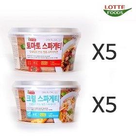 [롯데푸드] 크림 스파게티 (138g x 5)+토마토 스파게티 (138g x 5)