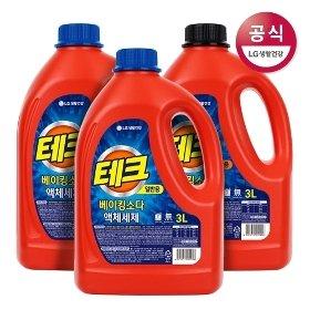 테크 베이킹소다 액체세제 일반/드럼 용기 3L x3개 (사은품 증정)