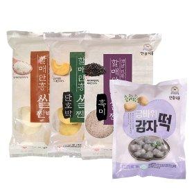 [안흥식품]먹거리 세트(쌀찐빵 20개+단호박쌀찐빵 20개+흑미쌀찐빵 20개+감자떡 20개)