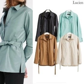 루시앙 Faux 레더 셔츠 재킷